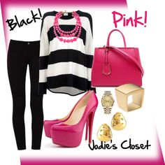 """Casual In Black & Pink!"" by jodiescloset on Polyvore"