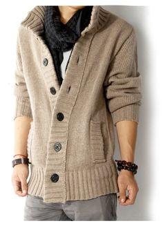 Men's knit cardigan sweater thick sweater coat Korean Slim line casual jacket in Sweaters Mens Knitted Cardigan, Shawl Collar Cardigan, Sweater Cardigan, Men Sweater, Black Cardigan, Brown Sweater, Sweater Coats, Sweater Outfits, Cardigan Fashion