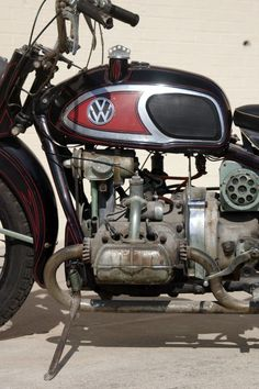 1966 XAVW Von Dutch rat motorcycle with a VW engine is displayed at the Von Dutch Museum.