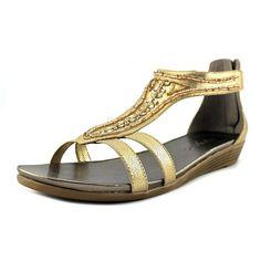 718a7b6235e6cd NEW Easy Spirit Amalina Sz 10 Gold Beaded Strappy Sandals Zipper Back Wedge  NWOB  EasySpirit
