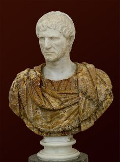 Possibly L. Junius Brutus, one of the founders of the Roman Republic, one of the first consuls, Roman bust (marble and alabaster), 1st-2nd century AD (bust is modern), (Museo Archeologico Nazionale, Naples).