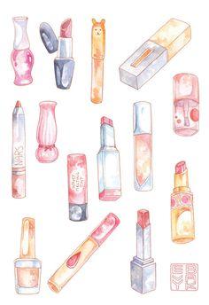 Pretty Makeup Stickers Hand Drawn Sticker Sheet Lipsticks Watercolor Illustrations Lipstick Korean Beauty Hand Drawn Stickers K-Beauty Pink everything Makeup Illustration, Watercolor Illustration, Art Illustrations, Kawaii Drawings, Cute Drawings, Korean Beauty Brands, Makeup Stickers, Lipstick Art, Pretty Makeup