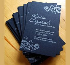 Black business card designs look elegant especially those letterpress-printed ones. Here are 27 black letterpress business cards for inspiration. Beauty Business Cards, Salon Business Cards, Hairstylist Business Cards, Letterpress Business Cards, Black Business Card, Cool Business Cards, Creative Business, Business Logo, Business Marketing