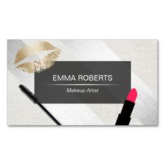 Makeup Artist Gold Lips Modern Silver Stripes Double-Sided Standard Business Cards (Pack Of 100)