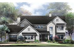 This 2-story Traditional style home – with the upstairs master suite typical of the style, along with its formal dining room and two-story Great Room with fireplace – presents a Contemporary aesthetic on the exterior. Best House Plans, House Floor Plans, Farm Plans, Farmhouse Plans, Farmhouse Style, Affordable House Plans, Floor Plan Drawing, Vertical Siding, Built In Bar