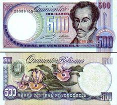 Venezuela 500 Bolivares 31.5.1990 (Simon Bolivar, orchids)