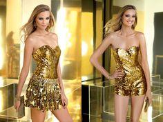Gold Lamé Romper With Detachable Skirt