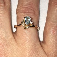 Genuine 14kt gold blue topaz & diamond chip ring Vintage genuine 14kt gold ring with blue topaz and diamond chip. Another inherited piece I don't wear. I'm open to offers & give bundle discounts! ☮❤️✌️ Jewelry Rings