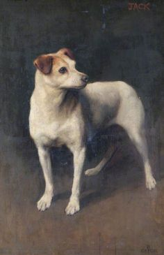 'Jack' by Beatrice Offor Date painted: Oil on canvas, 89 x cm Collection: Bruce Castle Museum (Haringey Culture, Libraries and Learning) ~ Jack Russell terrier Pugs, Gato Animal, Smooth Fox Terriers, Dog Artwork, Vintage Dog, Art Uk, Jack Russell Terrier, Dog Portraits, Animal Paintings