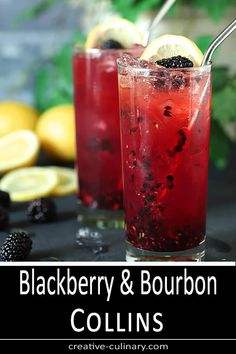 The Blackberry Bourbon Collins cocktail could be the mainstay of your warm weather drinking; it's a simple blend of blackberries, bourbon, simple syrup and lemon; change the fruit to whatever is freshest and mix it up all summer long! Mezcal Cocktails, Bourbon Drinks, Summer Cocktails, Cocktail Drinks, Cocktail Recipes, Alcoholic Drinks, Beverages, Bourbon Recipes, Drink Recipes