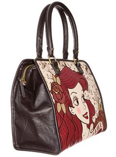 Disney X Loungfly Ariel bag has retro sailor tattoo printed pattern all-over the ivory canvas background. Comes with chocolate-brown faux-leather sides, matching faux leather piping and handles, a det