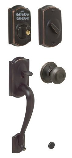 View the Schlage FE365-CAM-GEO Camelot Electronic Handleset with Georgian Knob at Handlesets.com.