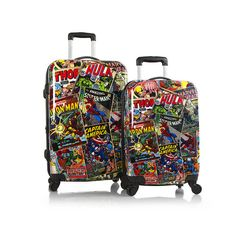 Heys Marvel Luggage Comic Book Print Young Adult 2 pc Set Spinner Carry On 21 26 #Heys