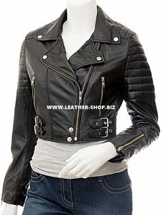 Ladies motorcycle style leather jackets for sale