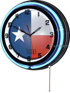 """Tx #texas state flag 18"""" blue #double neon wall #clock usa patriotic man cave dec,  View more on the LINK: http://www.zeppy.io/product/gb/2/262479566510/"""