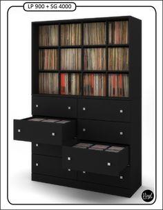 """Mixed size record storage by Vinyl Bop. / Mueble para 900 discos de 12"""" (lp) y 4000 discos de 7"""" (singles y ep).  Dimensiones: - Alto: 205 cm. - Ancho: 150 cm. - Profundidad: 52 cm.  Cajones con divisiones interiores y guías de cajón con freno antigolpes.  Precio: 1390 euros."""