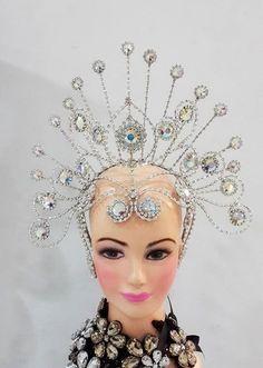 Da NeeNa 6B Showgirl Drag Samba Beauty Pageant Crystal Headdress Crown Tiara #DaNeeNa