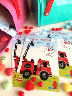 Fire Truck Valentine for Kids by TBoneSquid on Etsy
