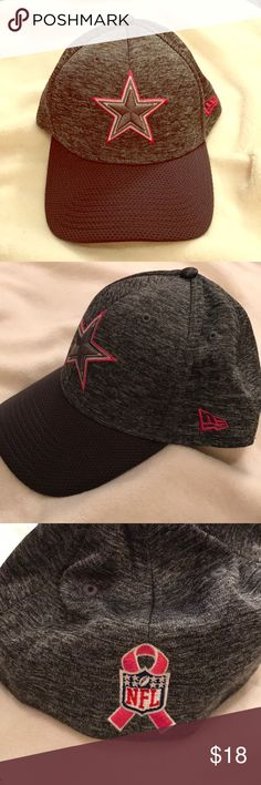 Women's Dallas Cowboys ball cap Medium Large CUTE! SUPER CUTE 39Thirty New Era NFL Women's Dallas Cowboys ball cap, size Medium-Large. Charcoal gray with pink detailing on the Cowboys Star and the breast cancer ribbon on the back. Fitted but stretchy. Only worn twice, in like new condition. 39Thirty New Era NFL Accessories Hats