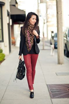 Leopard and Burgundy pants!
