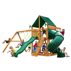Gorilla Playsets Mountaineer with Amber Posts and Sunbrella Canvas Forest Green Canopy Cedar Playset, Browns/Tans