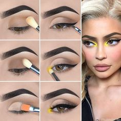 Here is Kylie Jenner Style Eye Makeup Tutorial! Here is Kylie Jenner Style Eye Makeup Tutorial! Makeup Eye Looks, Eye Makeup Steps, Simple Eye Makeup, Natural Eye Makeup, Eyebrow Makeup, Eyeshadow Makeup, Yellow Eye Makeup, Yellow Eyeshadow, Makeup Kit