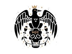 Monster Children - King Crow designed by Brian Steely. the global community for designers and creative professionals. Crow Logo, Raven Logo, Lettering Design, Logo Design, Print Design, Raven Art, Batik Art, Skull Logo, Halloween Poster