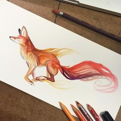 """10.3k Likes, 107 Comments - Katy Lipscomb (@katy_lipscomb) on Instagram: """"321- Chase  Simple and fun. Run Mister Fox!  #art #drawing #fox"""""""