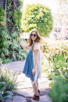 blue chambray dress with fringe cardigan vest- M Loves M