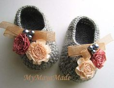 Flowery Beaded Gray Wool Crochet Baby Booties & Headband Set