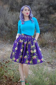 Pinup Girl Clothing Deadly Dames Darling Dames Skirt in Venus Fly Trap Print