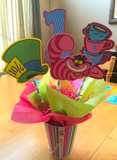 Kids party-center piece -Alice in wonderland,Disney,homemade using Cricut and…