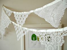 Eco Wedding Garland Decoration , Beach Wedding Garland, Banner , Photo booth Props,   Handmade With Handcrocheted Vintage Doilies and Laces. $38.00, via Etsy.