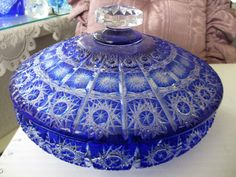 Beautiful Caesar Crystal Bohemiae Czech 24% Lead Blue Bowl with Lid