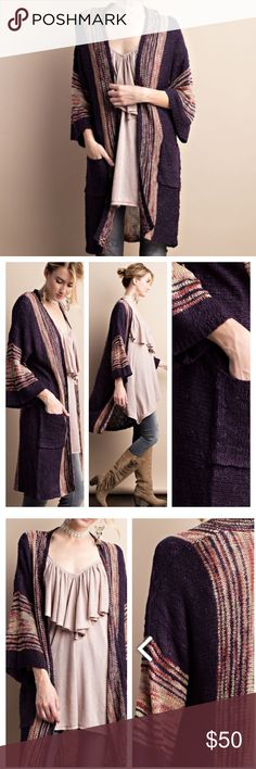 SOFT AND BEAUTIFUL CARDIGAN This boho inspired cardigan has flare sleeves and pockets. Multi color mix on this super soft stunner. 100% acrylic knit. DARK PLUM tla2 Sweaters Cardigans