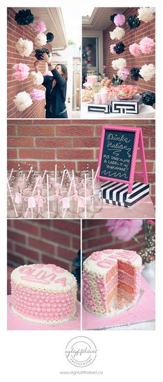 A pink, black and white themed bridal shower
