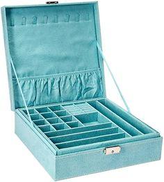 Amazon.com: KLOUD City Two-Layer lint Jewelry Box Organizer Display Storage case with Lock (Blue): Home & Kitchen Small Jewelry Box, Keep Jewelry, Jewelry Case, Girls Jewelry, Jewelry Holder, Jewellery Storage, Jewellery Display, Shadow Box, Best Gifts For Girls