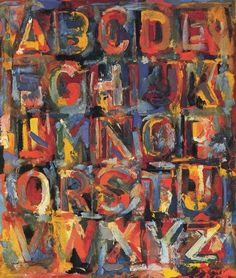 """Jasper Johns """"Colored Alphabet"""" I like the look of the splotchy letters"""