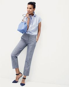 J.Crew women's short-sleeve popover shirt in stripe, patio pant in heavy chambray, midnight floral earrings, mini bucket bag in leather and pom-pom ankle strap flats.