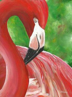 Shy Flamingo Print By Dana Kelley Carter