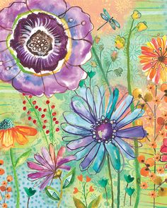 Watercolor Flower Print by Lori Siebert, Colorful, Whimsical, Mixed Media, Patterns, Lori Seibert, JOY
