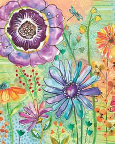 Watercolor Flower Print by Lori Siebert, Colorful, Whimsical, Mixed Media, Patterns, Lori Seibert, JOY