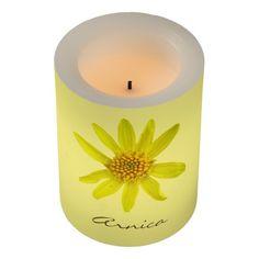 Botanical yellow Wildflower Led Candle