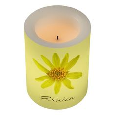 Botanical yellow Wildflower Led Candle