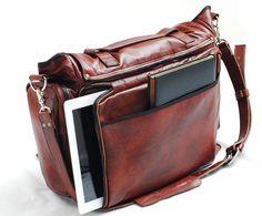 Main sac à bandoulière en cuir à la main corps 22 pouces croix en cuir, sac en cuir pour ordinateur portable Mac Book sac, sac à bandoulière...