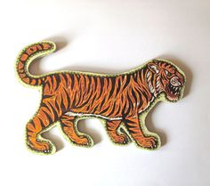 Tiger Painted Woodblock Print Mounted on Wood on Etsy, $75.00