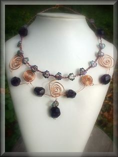 Woodland Odyssey Necklace  Wire Wrapped Copper Spiral by Shalotte, £40.00
