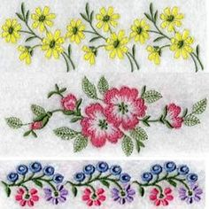 embroidery flower border patterns - Google Search