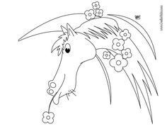 Flowered Horse coloring page. If you like the Flowered Horse coloring page, you will find so much more coloring sheets for free! Farm Animal Coloring Pages, Coloring Pages For Kids, Coloring Sheets, Farm Animals, Crafts For Kids, Horses, Amazing, Flowers, Art
