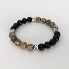 Items similar to Tibetan Agate bracelet - Mens bracelet - Dzi bead bracelet - Black Onyx bracelet - Mens beaded bracelet on Etsy Gemstone Bracelets, Bracelets For Men, Jewelry Bracelets, Bracelet Men, Leather Bracelets, Men's Jewelry, Fashion Jewelry, Yoga Bracelet, Diamond Bracelets